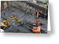 Construction Site Diggers And Workmen In The Foundation Pit Of A New Building Seattle Greeting Card by Andy Smy