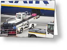 Conveyor Unloading Luggage Greeting Card by Jaak Nilson
