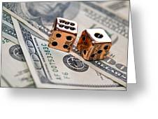 Copper Dice And Money Greeting Card by Susan Leggett
