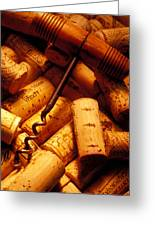 Corkscrew And Wine Corks Greeting Card by Garry Gay