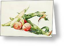 Corn And Peaches Greeting Card by Pg Reproductions