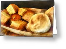 Cornbread And Rolls Greeting Card by Susan Savad