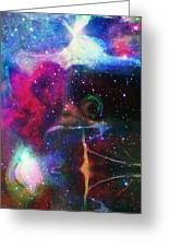 Cosmic Connection Greeting Card by Linda Sannuti