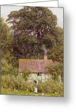 Cottage Near Brook Greeting Card by Helen Allingham