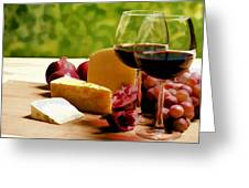 Countryside Wine  Cheese And Fruit Greeting Card by Elaine Plesser