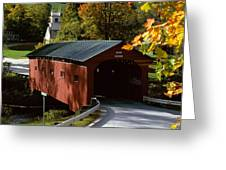 Covered Bridge in Vermont Greeting Card by Rafael Macia and Photo Researchers