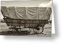 Covered Wagon Sepia Greeting Card by Steve Harrington