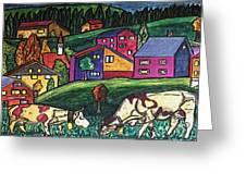 Cow Art Greeting Card by Monica Engeler