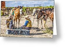 Cowgirls At Rest Greeting Card by Ralph Brannan