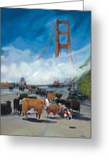 Cows On The Bridge 1 Greeting Card by Kathryn LeMieux