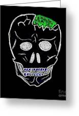 Cracked Skull Black Background Greeting Card by Jeannie Atwater Jordan Allen