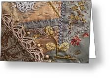 crazy quilt block May Greeting Card by Masha Novoselova