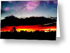 Crazy Sunset Greeting Card by Raven Janush