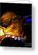 Creatures Of The Deep - The Octopus - V6 - Gold Greeting Card by Wingsdomain Art and Photography