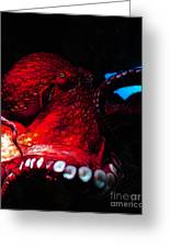 Creatures Of The Deep - The Octopus - V6 - Red Greeting Card by Wingsdomain Art and Photography