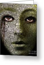 Creepy Cracked Face With Tears Greeting Card by Jill Battaglia