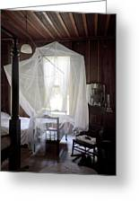 Crib With Mosquito Netting In A Florida Cracker Farmhouse Greeting Card by Lynn Palmer