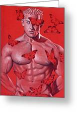 Crimson Flight Greeting Card by Chance Manart