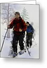 Cross Country Skiers Greeting Card by Elaine Plesser