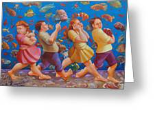 Crossing The Red Sea Greeting Card by Rosemarie Adcock