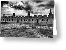 Crown Point Barracks Black And White Greeting Card by Joshua House