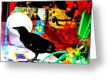 Crow's Piano Greeting Card by YoMamaBird Rhonda