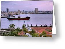 Cuba. Cargo Ship Leaving Havana Bay. Greeting Card by Juan Carlos Ferro Duque