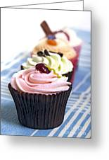 Cupcakes On Tablecloth Greeting Card by Jane Rix