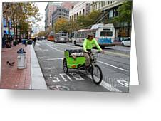Cycle Rickshaw On Market Street In San Francisco Greeting Card by Wingsdomain Art and Photography