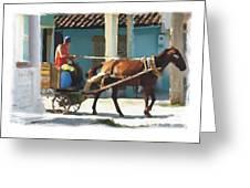 daily chores small town rural Cuba Greeting Card by Bob Salo
