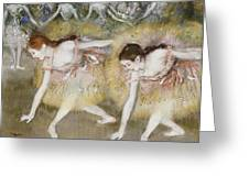 Dancers Bending Down Greeting Card by Edgar Degas