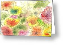 Dancing Flowers Greeting Card by Christine Crawford