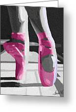 Dancing On Pink Satin Greeting Card by Lance  Kelly