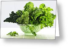 Dark Green Leafy Vegetables In Colander Greeting Card by Elena Elisseeva