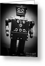 Dark Metal Robot Greeting Card by Edward Fielding