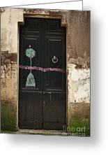 Decorated Door Greeting Card by Mary Machare