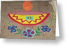 Decorative Earthen Diya Rangoli Greeting Card by Sonali Gangane