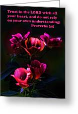 Delicate Dark Pink Roses Pro. 3v5 Greeting Card by Linda Phelps
