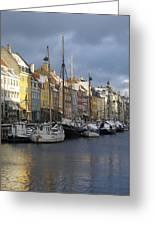 Denmark, Copenhagen, Nyhavn, Boats Greeting Card by Keenpress