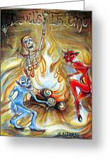 Devil's Inferno Greeting Card by Heather Calderon