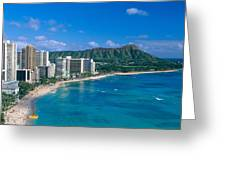 Diamond Head And Waikiki Greeting Card by William Waterfall - Printscapes