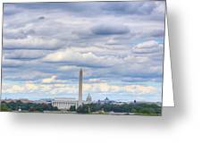 Digital Liquid - Clouds Over Washington Dc Greeting Card by Metro DC Photography