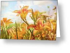 Digital Painting Of Orange Daylilies Greeting Card by Sandra Cunningham