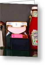 Diner Table Condiments And Other Items - 5d18035- Painterly Greeting Card by Wingsdomain Art and Photography