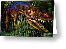 Dinosaur In Reeds Greeting Card by Jerry L Barrett