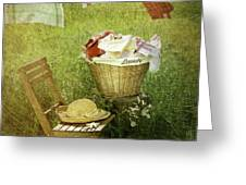 Distressed photo of wash day  Greeting Card by Sandra Cunningham