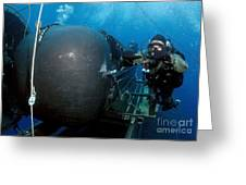Divers Prepare To Launch A Seal Greeting Card by Stocktrek Images