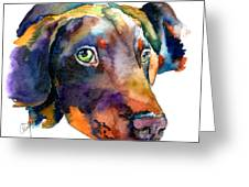 Doberman Watercolor Greeting Card by Christy  Freeman