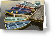 Dock With Colorful Boats Greeting Card by Dennis Orlando