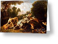 Dogs Fighting Greeting Card by Pg Reproductions